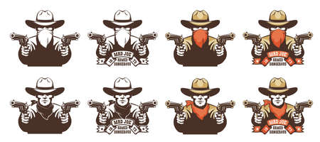 Cowboy bandit from the wild west with guns in his hands Illustration