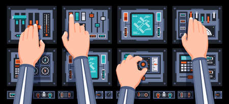 Spaceship control panel with hands of pilots