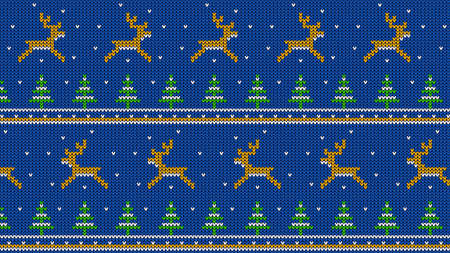 Knitted pattern with jumping deer and Christmas trees Stock Illustratie