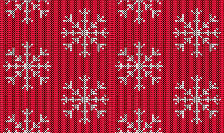 Knitted seamless pattern with white snowflake on red background. Christmas sweater ornament. Vector illustration. Illustration