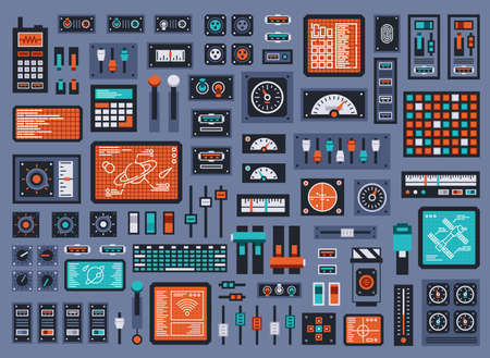 Set of control panel elements for spacecraft or technical industrial station. Vector illustration. Vettoriali