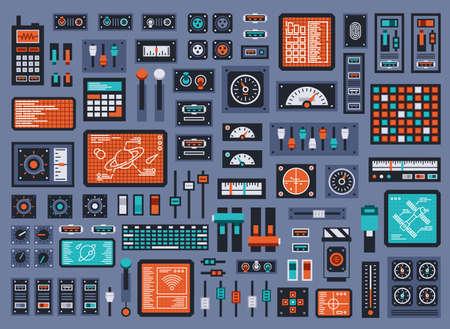 Set von Bedienfeldelementen für Raumfahrzeuge oder technische Industriestationen. Vektor-Illustration.