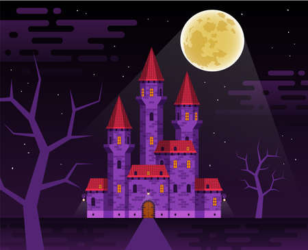 Dark medieval castle in the night Banque d'images - 132741889