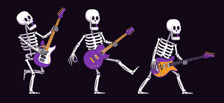 Skeleton with an electric guitar plays rock music