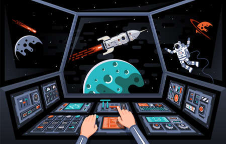 Control panels and view from the cockpit of the spaceship. Astronauts hands on the dashboard of the spacecraft. Vector illustration. Illustration