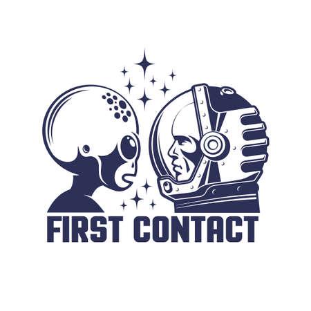 Astronaut in helmet and alien first contact