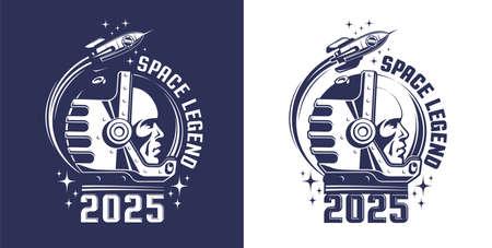 Astronaut in helmet logo in retro style
