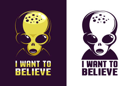 Alien head retro logo with the inscription I want to believe. Çizim