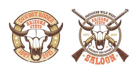 Western retro logo - buffalo skull with crossed rifles