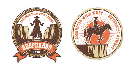Western American logo with cowboy bandit and horse rider Banque d'images - 134471398