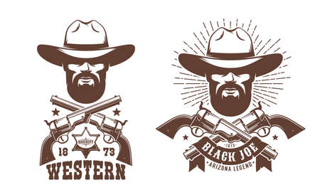 Cowboy bearded in hat with crossed guns retro logo Illustration