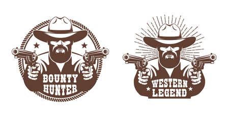 Western cowboy with beard and two guns - retro emblem Ilustración de vector