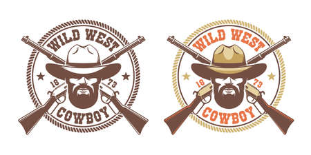 Wild west retro logo - cowboy in hat with crossed guns winchesters Banque d'images - 134471401