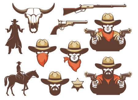 Wild west cowboy and weapons and design elements