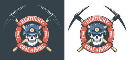 Miner skull in hardhat and crossed picks - retro mining logo Banque d'images - 134471403