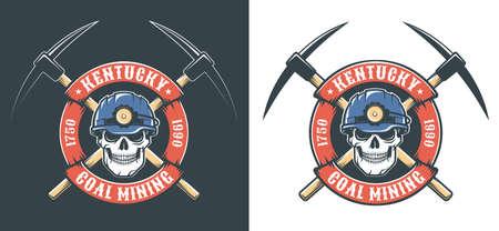 Miner skull in hardhat and crossed picks - retro mining logo Illustration