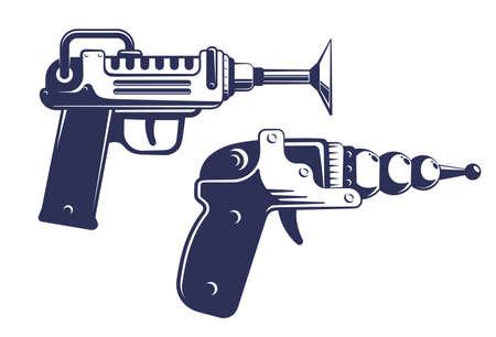 Alien blaster gun - space weapon in retro style Illustration