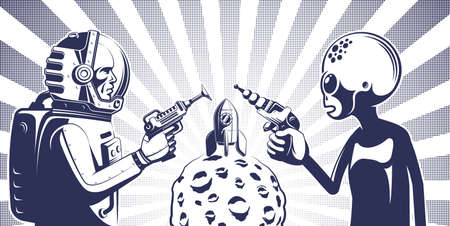 Alien with phaser against an astronaut in spacesuit with laser gun