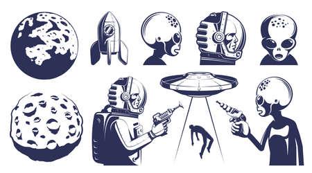 Space design elements set in retro style Çizim