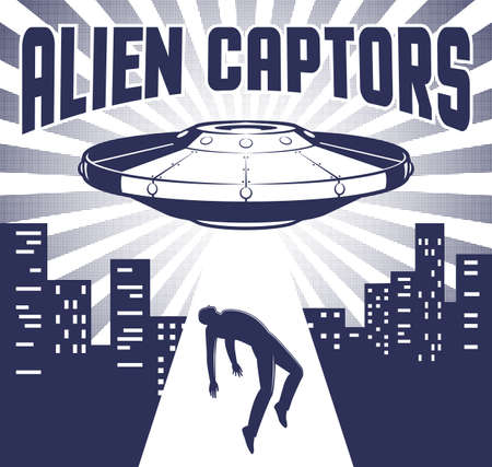 Flying saucer with beam abducts man Illustration