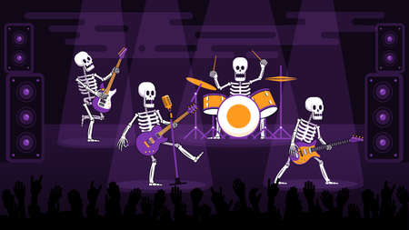 Rock band of skeletons with electric guitars and a drummer performs on stage