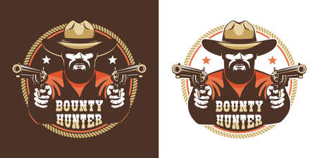Bearded cowboy with guns - vintage wild west emblem
