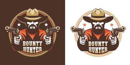 Vaquero barbudo con pistolas - emblema vintage del salvaje oeste