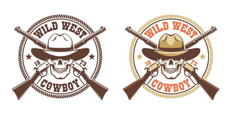 Skull cowboy with rifles - vintage wild west emblem Stock Vector - 134471412