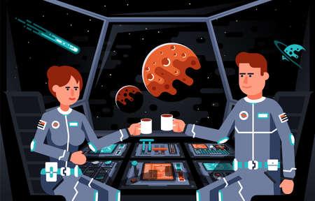 Astronautas en la cabina de la nave espacial.