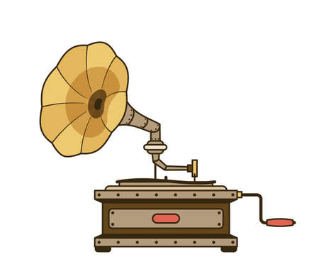 Steampunk retro gramophone isolated