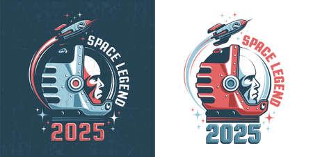 Astronaut head - retro logo Çizim