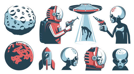 Alien UFO vintage set with astronaut and martian Stock Vector - 135445893