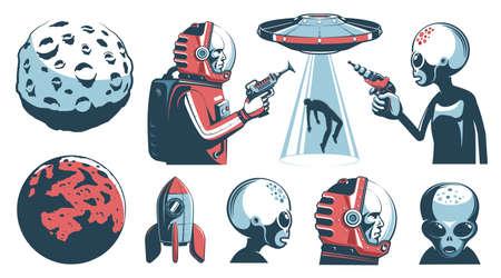 Alien UFO vintage set with astronaut and martian Çizim