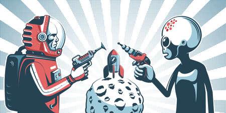 Alien with blaster gun against astronaut in spacesuit with laser Çizim