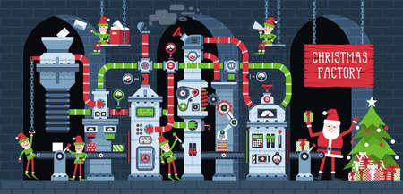 Trasportatore di fabbrica di Natale con elfi al lavoro. Produzione di macchine per officina di Babbo Natale Regali di Capodanno. Illustrazione di vettore di Natale fantastico industria.