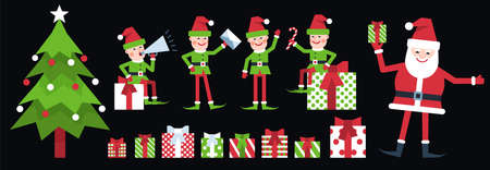 Christmas elf - Santa helper poses. Elves in red green clothes and various gift boxes with ribbons. Vector illustration. Çizim