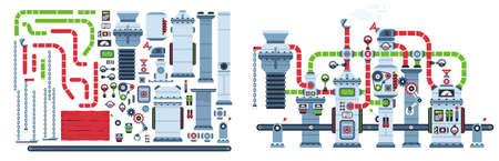 Factory conveyor belt fantastic machine. Industrial mechanism equipment. Machinery spare parts set. Vector illustration. Çizim