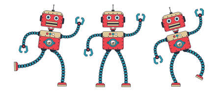 Funny retro robot dancing. Steampunk cartoon vintage red cyborg poses. Vector illustration.