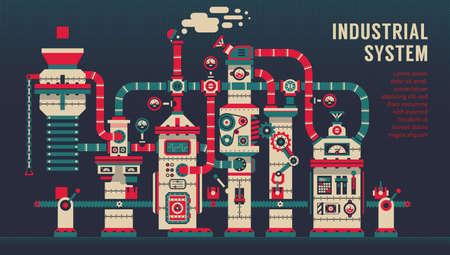 Conveyor machine inside factory. Industrial machinery concept. Vector illustration. Stock Vector - 135750477