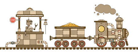 Steampunk retro train with a gold wagon, station and robot. Vector illustration. Çizim