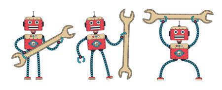 Retro robot with spanner. Vintage repair cybor hold wrench. Vector illustration. Çizim
