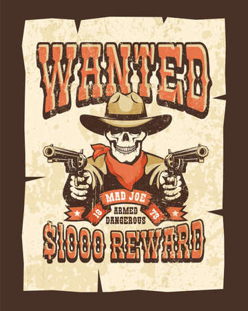 Wanted western poster with skull bandit with pistols Stock Vector - 138441521