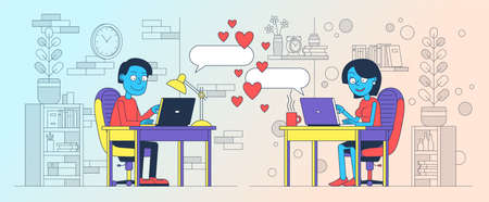 Couple in love is chatting online