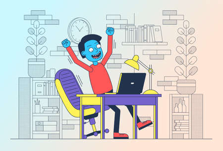 Happy freelancer with laptop jumped up for joy. Succesful man with computer. Online winning celebration. Vector illustration.