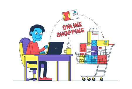 Man online shopping with laptop Stock Vector - 138441532