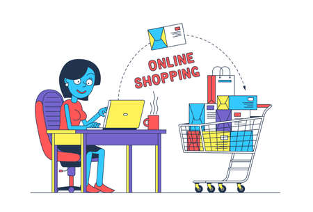 Woman online shopping with laptop Stock Vector - 138441523