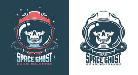 Astronaut helmet with skull - vintage space emblem Çizim