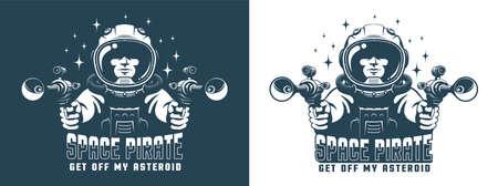 Astronaut with ray guns - space pirate retro Çizim