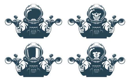 Astronaut mit Blastern in den Händen Vektorgrafik