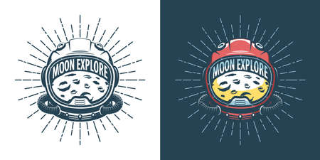 Astronaut helmet and moon - vintage illustration Stock Vector - 138758622